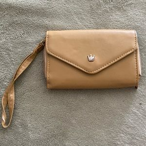 tan and baby blue clutch/wallet